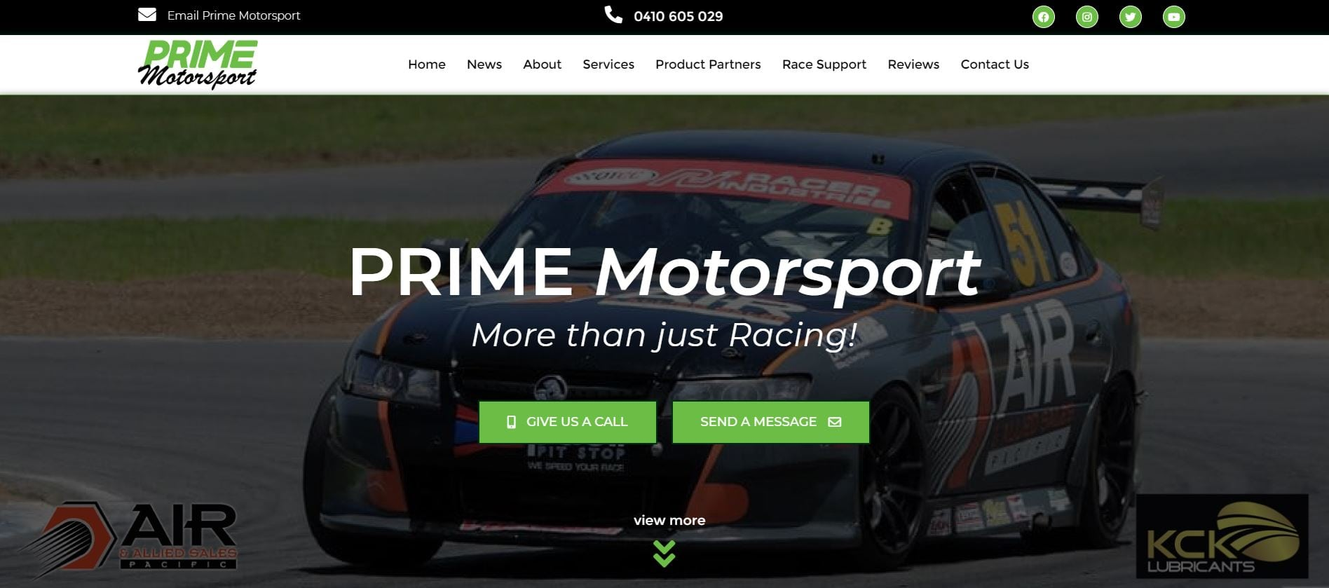 Prime Motorsport website home page image